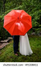Bride and Groom share a kiss behind umbrella