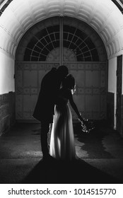 the bride and groom stand under the arch in the backlight