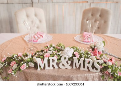 Bride & Groom sweetheart table at wedding reception