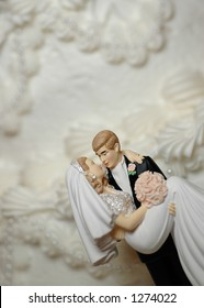 Bride and Groom Wedding Cake Figurines (room for text)