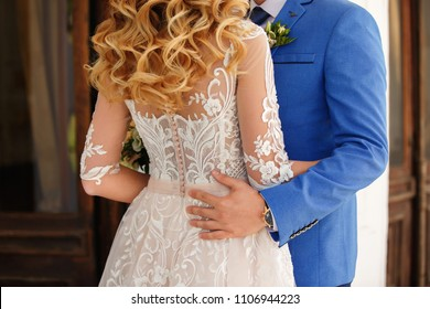 Bride and groom in wedding day. Elegant newlyweds couple in love