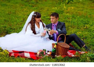 bride and groom at wedding in green field sitting on picnic, drink wine from wine glasses at wedding