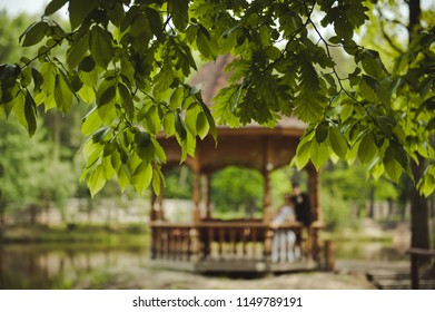 The bride and groom in a wooden arbor. Wedding day. Arbor in the forest near the lake. Wedding couple in the forest.