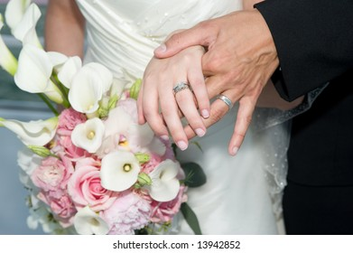 Bride and Groom's Rings on Wedding Day