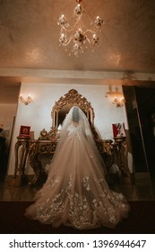 Bride and her beautiful wedding dress
