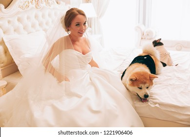 The bride and her dogs