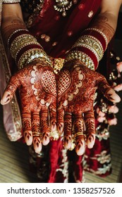 The bride of Hindu has a beautiful tattoo with henna on her wedding day