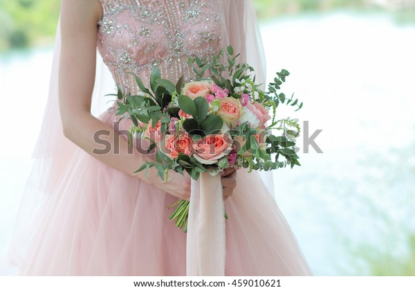 Bride Holding Beautiful Bridal Bouquet Wedding Stock Photo Edit