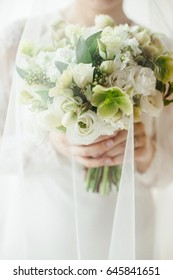 The bride is holding a stylish wedding bouquet, big wedding bouquet in hands of the bride, Classic bouquet, Bride under the veil, Flowers in female hands, Wedding flowers in light colors