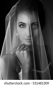 Bride holds her hand behind her chin while she poses under the veil