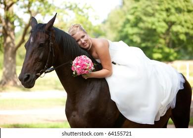 Bride with horse, romantical photo