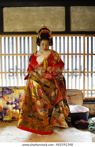 Japanese Wedding Kimono.Bride Kimono Traditional Japanese Wedding Stock Photo Edit Now