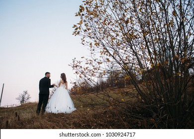 Bride leans to a groom tender standing on the hill with great mountain view behind