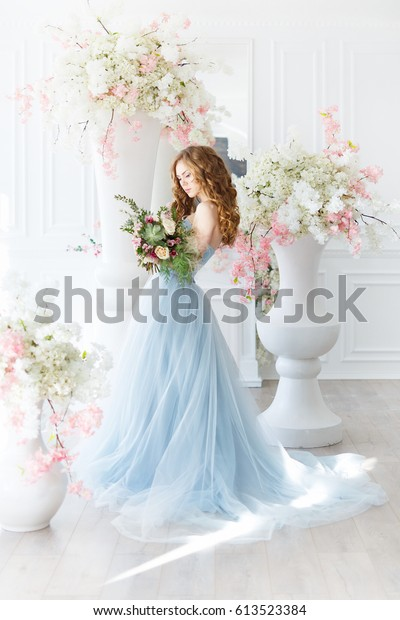 Bride Light Interior Blue Wedding Dress Stock Photo Edit Now