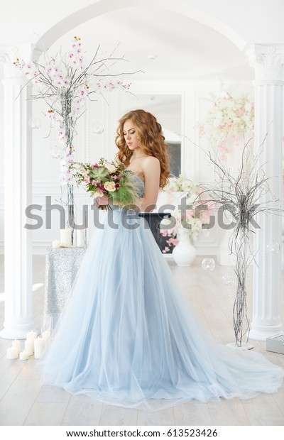 Bride Light Interior Blue Wedding Dress Royalty Free Stock Image