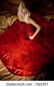 bride lin red wedding dress, studio shot,