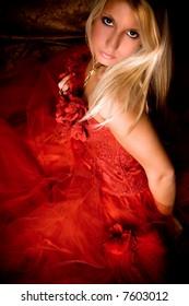 bride lin red wedding dress, studio shot, from above