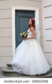 The bride near the church door