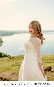 bride near the lake