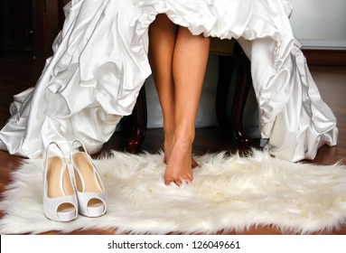 bride on foot mat with shoes