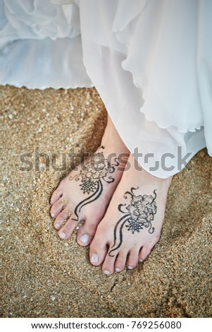 Bride Painting Henna On Foots Wearing Stock Photo Edit Now
