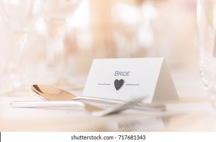 Bride Place Card on Table Wedding Day