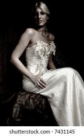 bride portrait in wedding dress, studio shot