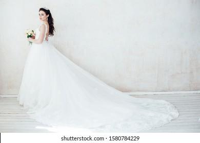 bride Princess in Royal wedding dress white