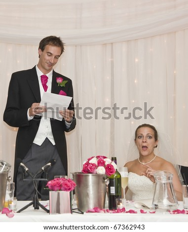 Bride Reacts Grooms Speech During Real Stock Photo (Edit Now