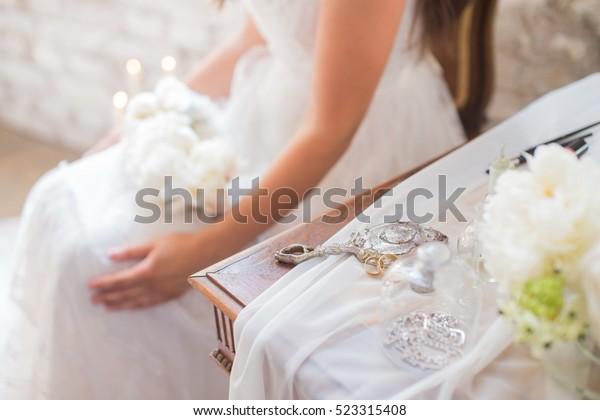 Bride Rustic White Wedding Dress Sitting Stock Photo Edit Now