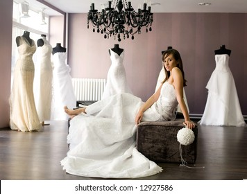 bride at the salon in wedding dress