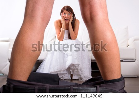 Bride shocked at the groom striptease