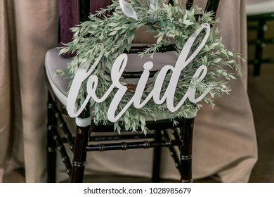 Bride sign on a decorated chair