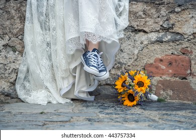 Bride with sport shoes