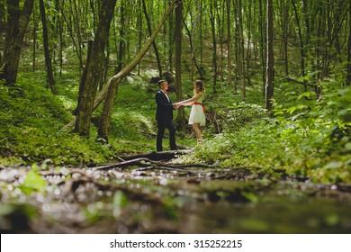 bride walking in nature