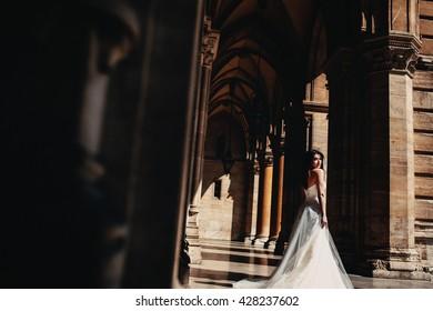 Bride walks on town hall