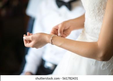 The bride was wearing a diamond bracelet.