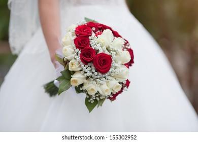 bride with a wedding bouquet