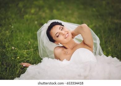 Bride in Wedding Dress. Happy Day