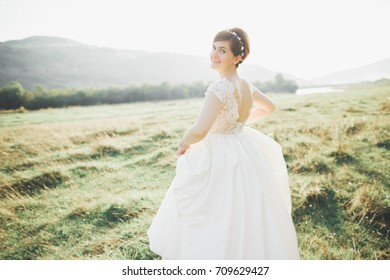 Bride in wedding dress posing on grass with beautiful landscape background