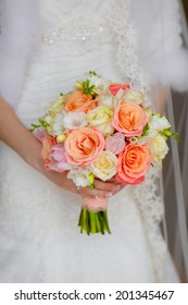 Bride wedding flowers bouquet. Colorful bridal decoration.