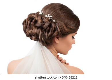 Bride wedding hairstyle veil on white stock photo 346025942 bride with wedding hairstyle and veil on a white background junglespirit Gallery