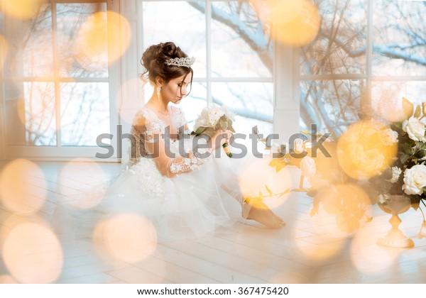 Bride Wedding Bride Short Dress Lace Stock Photo Edit Now 367475420