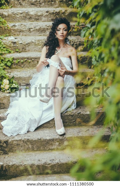 Bride White Dress Sit On Steps Stock Image Download Now