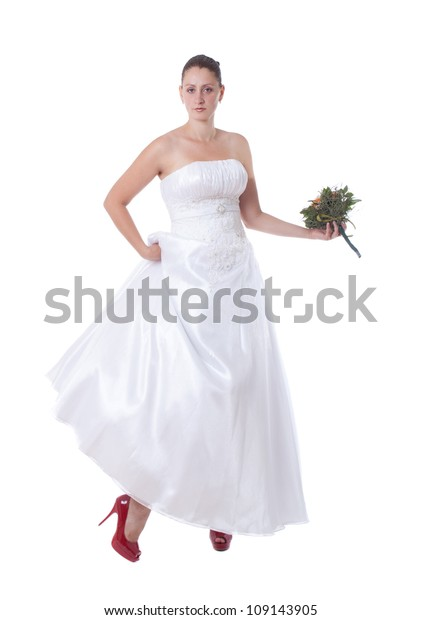 Bride White High Heel Red Shoes Stock Photo Edit Now 109143905