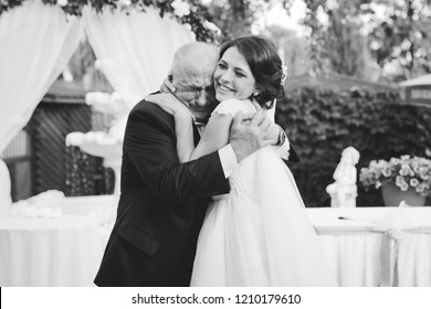 Bride wit his father or grandfather. Really true emotions