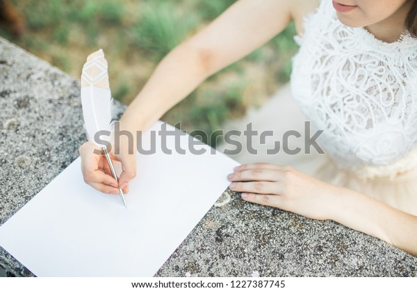 Wedding Day Letter To Bride.Bride Writing Love Letter Vows Groom Stock Photo Edit Now