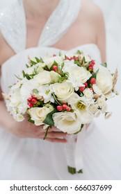 the bride's bouquet, Bride with bouquet, wedding day, Wedding Dress