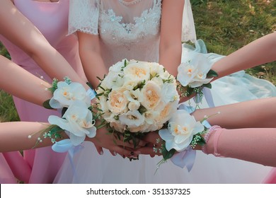The bride's bouquet in the center.