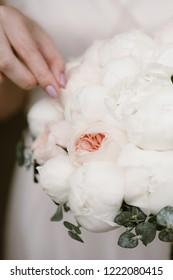 the bride's bouquet, peony, bouquet peonies, flowers, Wedding floristry